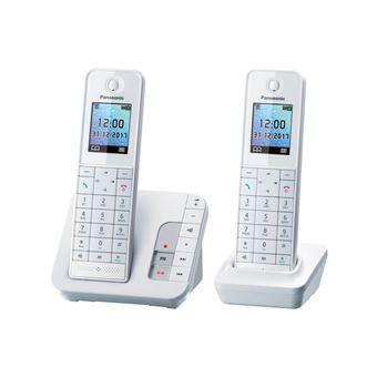 t l phone fixe sans fil panasonic kx tgh222frw duo blanc. Black Bedroom Furniture Sets. Home Design Ideas