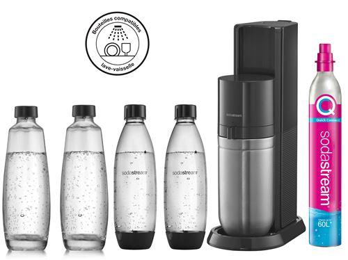 Machine à eau pétillante Sodastream Duo Noir avec 2 carafes et 2 bouteilles Fuse