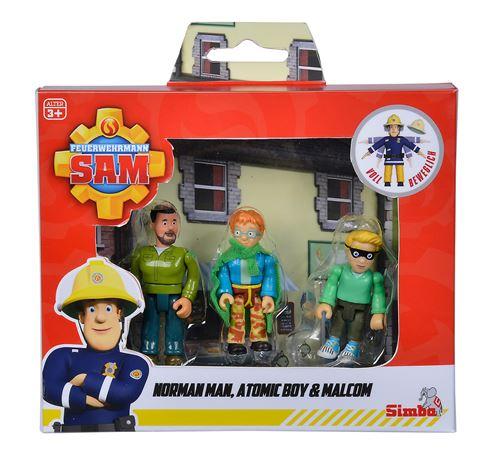 Set de 3 figurines Simba Sam le Pompier 7,5 cm