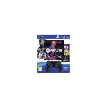 Manette + Jeu Sony Dual Shock 4 Noire V2+FIFA 21+Vch FU