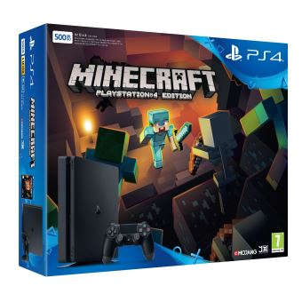 Pack Console Sony PS4 500 Go Slim Noire + Minecraft PS4