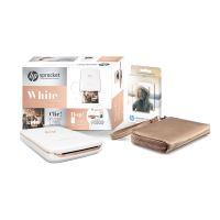 Pack Imprimante Photo HP Sprocket Plus Blanc + 1 paquet de 20 papiers photos et 1 pochette