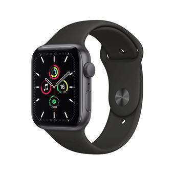 Apple Watch SE GPS, 44 mm kast van spacegrijs aluminium met zwarte sportband