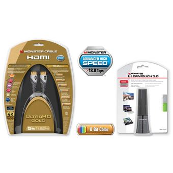 Câble Monster Cable HDMI UltraHD Gold 1.5 m Advanced High Speed avec Ethernet + CleanTouch 3.0