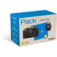 Fnac Pack Olympus E-M10 Mark II Hybride Behuizing + M.Zuiko 14-42mm f/1:3.5-5.6 II R Lens Zwart + Draagtas + 8GB SD-Kaart