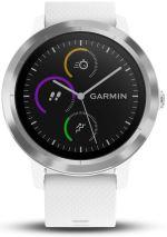Montre connectée de sport Garmin Vivoactive 3 avec GPS et cardio poignet Argent avec Bracelet Blanc