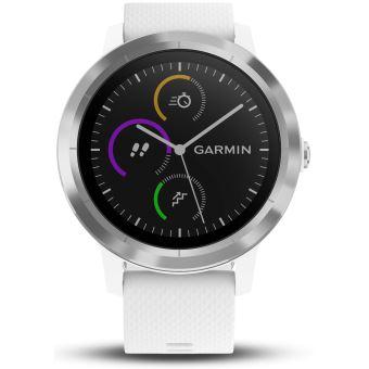 935b503ce4a Montre connectée de sport Garmin Vivoactive 3 avec GPS et cardio poignet  Argent avec Bracelet Blanc