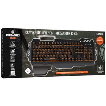 Clavier de jeu semi-mécanique Konix World of Tanks K-50 Noir et Orange