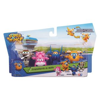 Pack de 4 figurines Super Wings Jerome Donnie Dizzy et Bello 5 cm