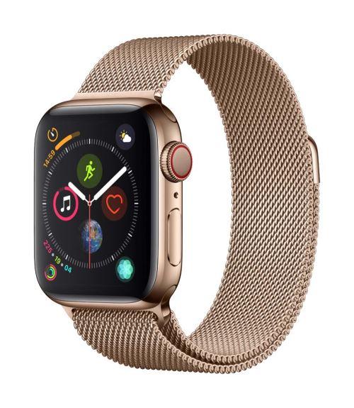 Fnac.com : Apple Watch Series 4 Cellular 40 mm Boîtier en Acier inoxydable Or avec Bracelet Milanais Or - Montre connectée.
