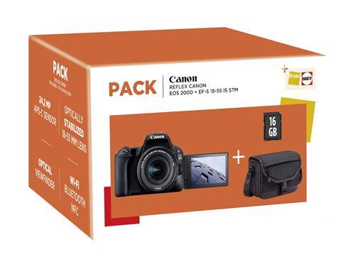 cfc8b332a4 -17% sur Pack Fnac Reflex Canon EOS 200D Noir + Objectif EF-S 18-55 mm  f/4.5-5.6 IS STM + Sac + Carte SD 16 Go - Appareil photo reflex - Achat &  prix   fnac