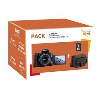 Canon Eos 200D Reflex Camera Black + EF-S 18-55mm f/4.5-5.6 IS STM C Lens + 16GB SD-Kaart