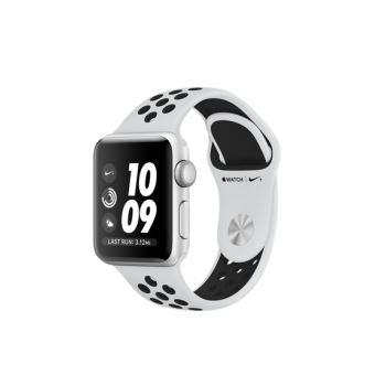 Apple Watch Nike + 38mm zilverkleurige aluminium behuizing met Pure Platinum sportarmband zwart