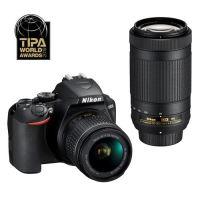 Nikon D3500 Reflex Camera Zwart + Nikkor AF-P DX 18-55mm f/3.5-5.6 VR Lens + AF-P DX 70-300mm f/4.5-6.3G ED VR Lens