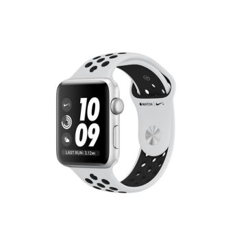 Apple Watch Nike + 42mm zilverkleurige aluminium behuizing met Pure Platinum sportarmband zwart