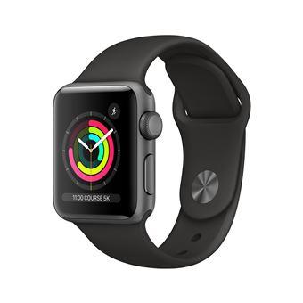 Apple horloge serie 3 38 mm 38 mm 38 mm aluminium behuizing staal grijs met zwarte sport armband