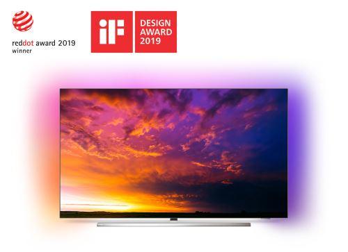 """TV Philips 55OLED854 UHD 4K Ambilight 3 côtés Android TV 55"""" application Disney+ disponible - Téléviseur LCD 44"""" à 55""""."""