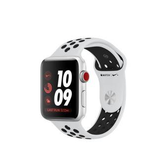 Apple Watch Nike+ Cellular 42 mm Boîtier en Aluminium Argent avec Bracelet Sport Platine pur Noir