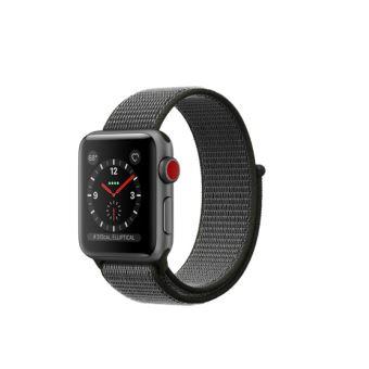 Apple Watch Series 3 Cellular 38 mm Boîtier en Aluminium Gris sidéral avec Bracelet Sport Olive