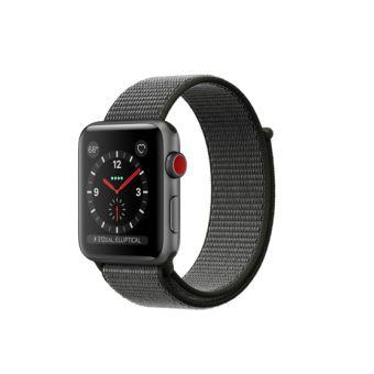 Apple Watch Series 3 Cellular 42 mm Boîtier en Aluminium Gris sidéral avec Bracelet Sport Olive