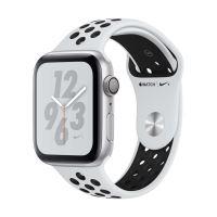 Apple Watch Series 4 Nike+ 44 mm Kast van zilverkleurig aluminium, met platina/zwart sportbandje van Nike