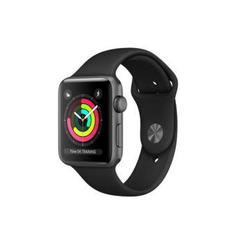 Apple Watch Series 3 42 mm Boîtier en Aluminium Gris sidéral avec Boucle Sport Noir