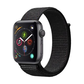 Apple Watch Series 4 44 mm Boîtier en Aluminium Gris sidéral avec Boucle Sport Noir