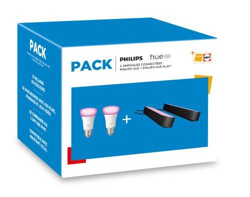 Pack de 2 Ampoules et 2 Lampes connectées Philips Hue Play Noir