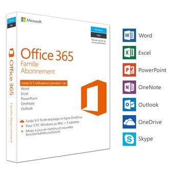 Office 365 Famille 5 PC Windows/Mac + 5 tablettes Abonnement 1 an