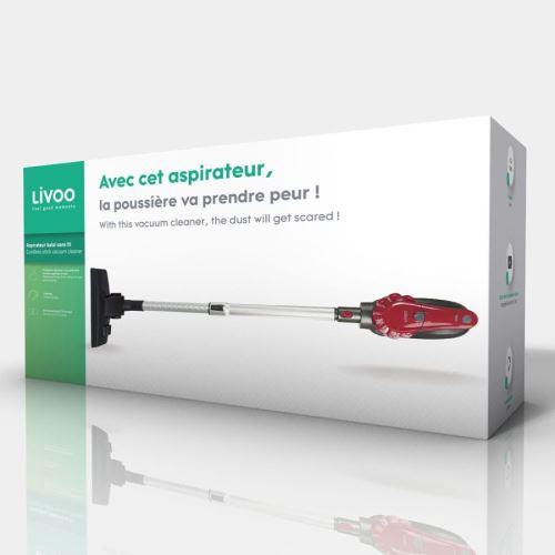 Aspirateur balai sans fil Livoo 120 W Gris et Rouge
