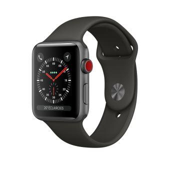 Apple Watch Series 3 Cellular 42 mm Boîtier en Aluminium Gris sidéral avec Bracelet Sport Gris