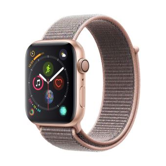 Apple Watch Series 4 44mm Kast van Goudkleurig Aluminium + Rozenkwarts Geweven Sportbandje