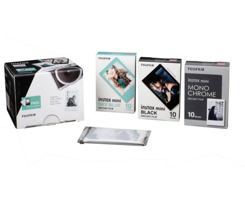 Pack Fujifilm film Instax mini Bleu et Noir + Set de 10 magnets