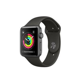 Apple Watch Series 3 42 mm Boîtier en Aluminium Gris sidéral avec Boucle Sport Gris