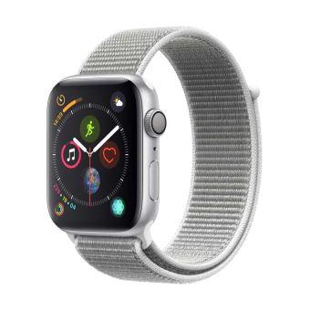 Apple Watch Series 4 44 mm Kast van zilverkleurig aluminium, met schelpenwit geweven sportbandje