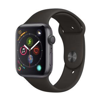 Apple Watch Series 4 44 mm Boîtier en Aluminium Gris sidéral avec Bracelet Sport Noir