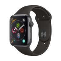 Apple Watch Series 4 44 mm Kast van spacegrijs aluminium, met zwart sportbandje