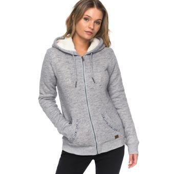 discount sale order online casual shoes Sweat à capuche zippé Femme Roxy Trippin Sherpa Gris Taille S