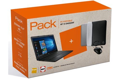 Pack Fnac PC Portable HP 15-da0025nf 15.6 + Souris + House de protection Noir