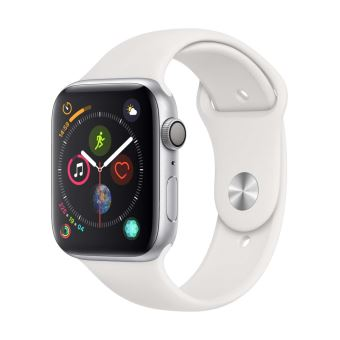 Apple Watch Series 4 44mm Kast van Zilverkleurig Aluminium + Wit Sportbandje