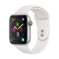 Apple Watch Series 4 44 mm Kast van Zilverkleurig Aluminium, met Wit Sportbandje