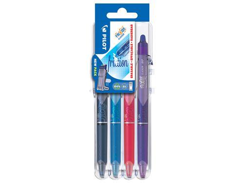 Set 4 stylos Pilot Pen Frixion Clicker 07 Set2Go Noir Bleu Rouge et Vert