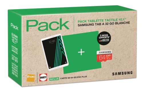 Pack Fnac Tablette Samsung Galaxy Tab A6 10.1 32 Go WiFi Blanc + Carte Micro SD Evo Plus 64 Go