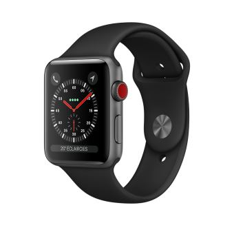 Apple Watch Series 3 Cellular 42 mm Boîtier en Aluminium Gris sidéral avec Bracelet Sport Noir