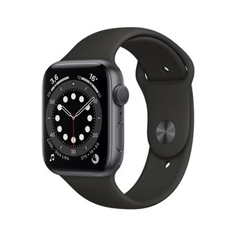 Apple Watch Series 6 GPS, 44 mm kast van spacegrijs aluminium met zwarte sportband