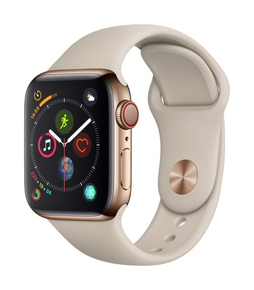 Fnac.com : Apple Watch Series 4 Cellular 40 mm Boîtier en Acier inoxydable Or avec Bracelet Sport Gris sable - Montre connectée.