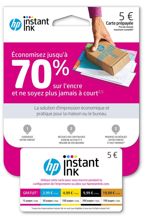 HP Instant Ink : Carte prépayée - no - POSA/Amazon/FR - Forfaits 15, 50, 100, 300 pages 1VU79AE HP Instant Ink : service de remplacement de cartouches d'encre qui vous permet de faire des économies.5 Ne tombez plus à court d'encre2 ? Imprimez 15 pages par