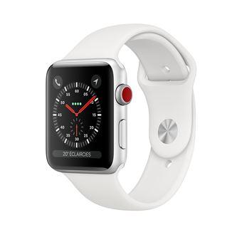 05a267dd9ae17b Apple Watch Series 3 Cellular 38 mm Boîtier en Aluminium Argent avec Bracelet  Sport Blanc