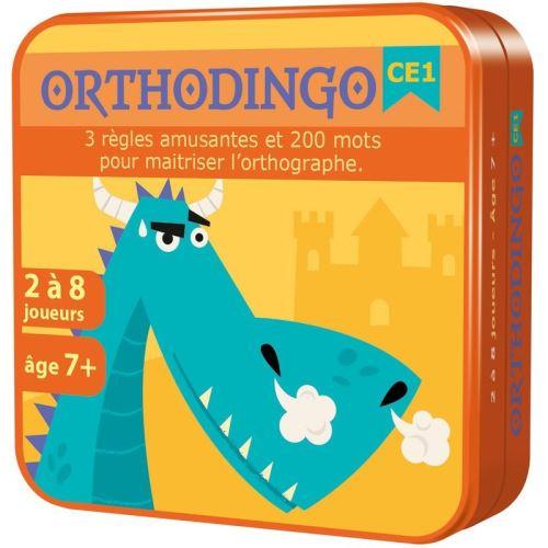 OrthoDingo CE1 vous permet de travailler l´orthographe de 200 mots en primaire (CE1/CE2/CM1). Le jeu propose 3 règles de jeu (Quizz, Quizz par équipes et le Pendu). Les cartes sont organisées en 6 séries qui permettent chacune de travailler une famille de