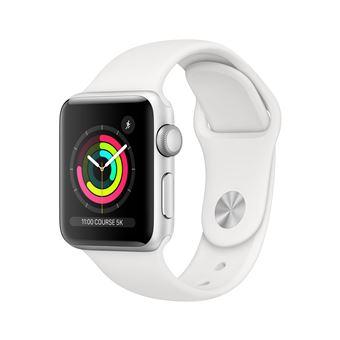 Apple Watch Series 3 38 mm Boîtier en Aluminium Argent avec Bracelet Sport Blanc